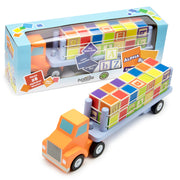 two alpha block cargo trucks one in original packaging the other as is