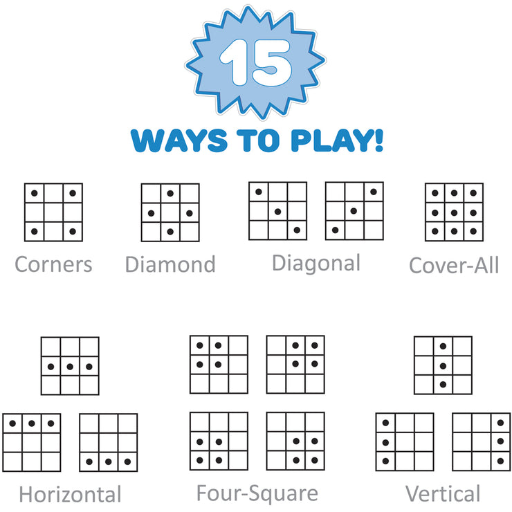 image displaying all fifteen ways to play this stem alphabet bingo