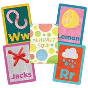 image of alphabet soup matching and memory card game cards