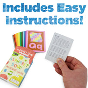 alphabet card game with box packaging text reads includes easy instructions