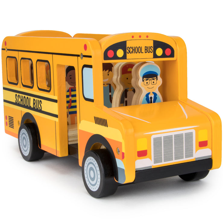 all children seated in the school bus with hank the driver in front