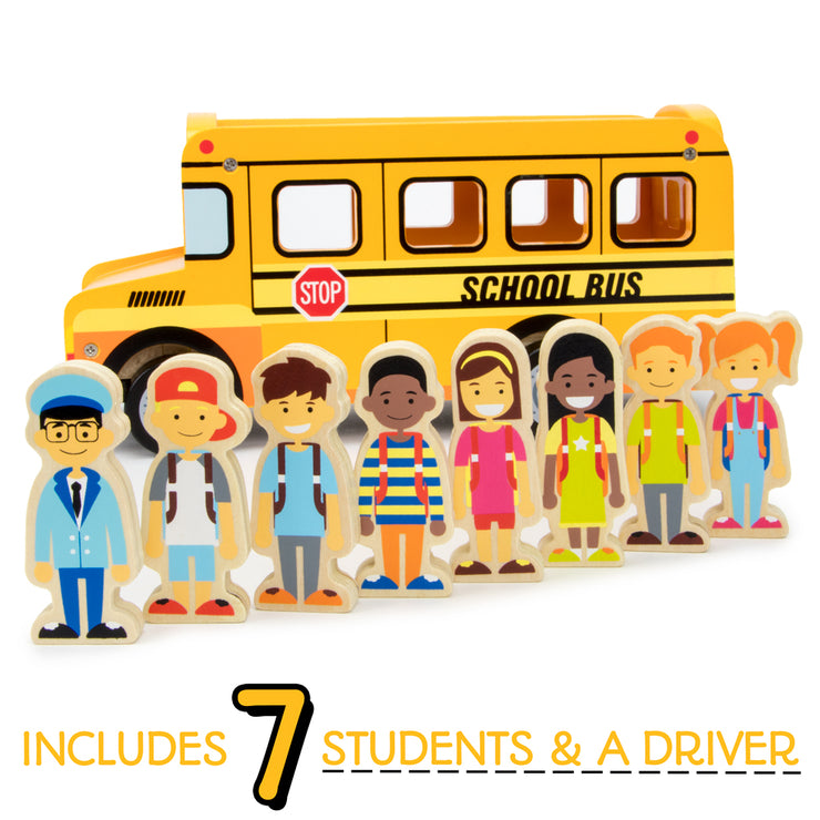 seven students and a bus driver displayed in front of the yellow school bus