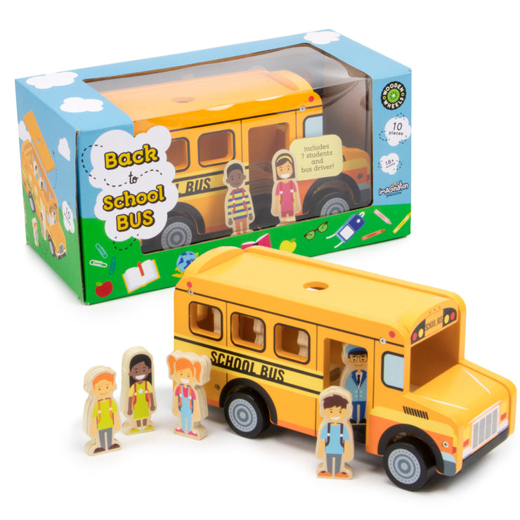 back to school bus ready to play with box packaging in the background