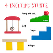 image showing four stunt pieces a ramp and ball bell steps and bridge