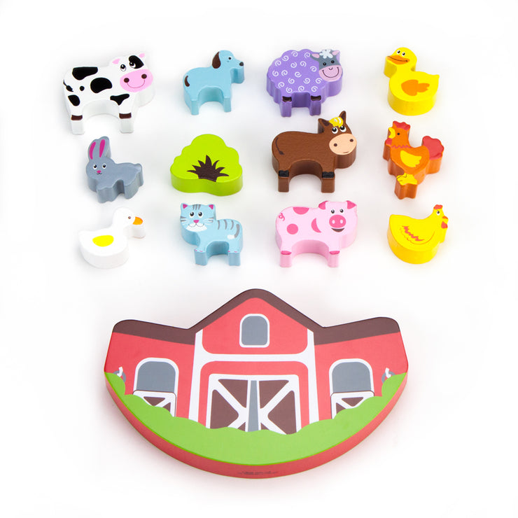image of all twelve animals and the barn placed flat and facing up