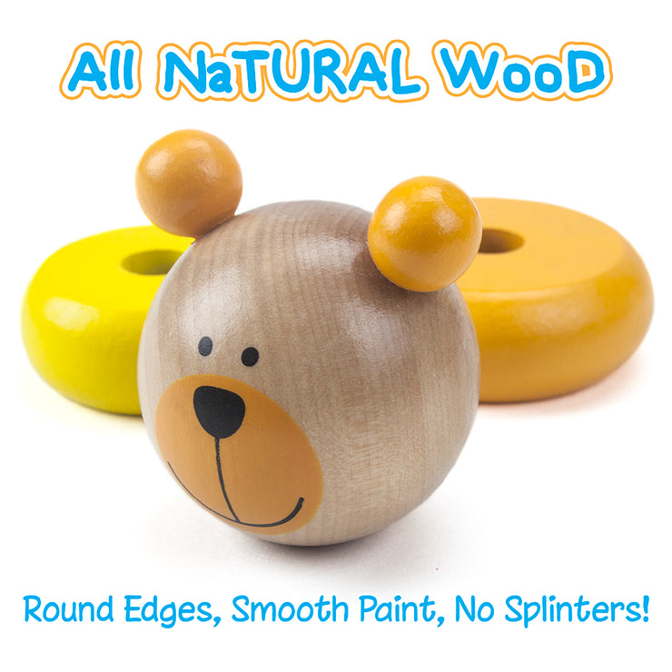 close up of a bear face and two rings text reading all natural wood round edges smooth paint no splinters