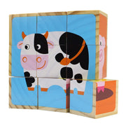 front view of Barnyard Animal Block Puzzle showing blue with back and white  cow