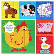 view of each side of the Barnyard Animal Block Puzzle showing chicken donkey duck sheep pig and cow