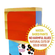 Barnyard Animal Block Puzzle close up with text saying safety of paint and water based products