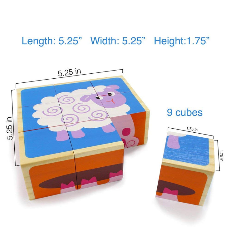 dimension view of Barnyard Animal Block Puzzle showing 5.25 inch square and each individual piece 1.75 inch cubed. Front face with the sheep with blue background
