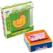 box packaging for the Barnyard Animal Block Puzzle showing a chicken and a pink pig - stem