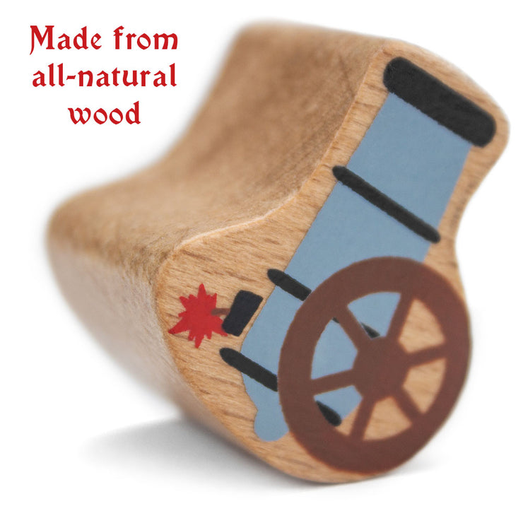 close up of a stem toy pirate piece text reads all natural wood