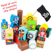 different pieces from blockbeards ship text reads build all sorts of seaworthy ship shapes