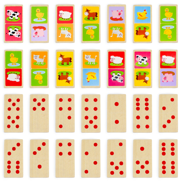 dominoes showing numerical images as well as barnyard animals