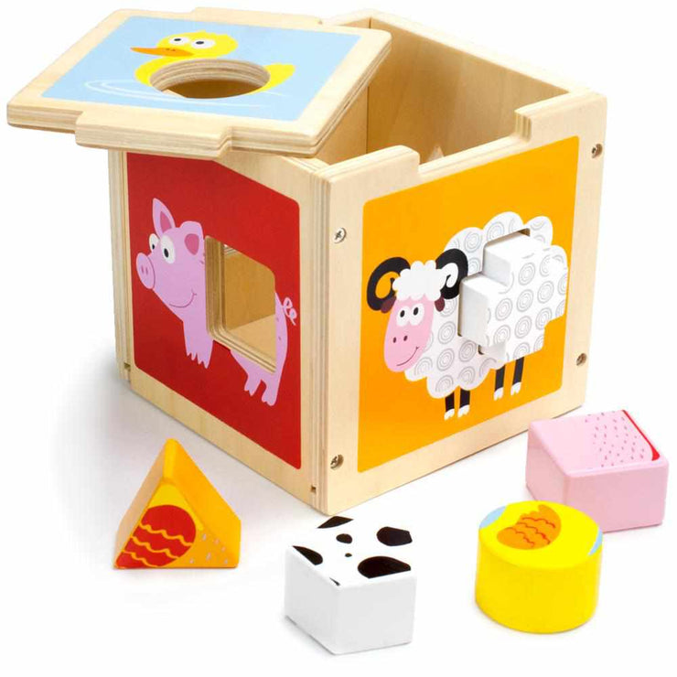 stem sorting cube with the lid slightly removed images of a duck pig and sheep displayed
