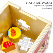 aerial view of the stem sorting cube text reading natural wood safe rounded edges and smooth paint