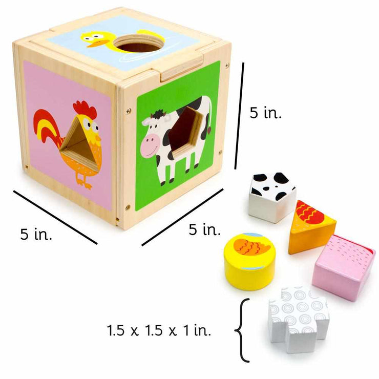 image displaying the size of the sorting cube and sort and learn shapes