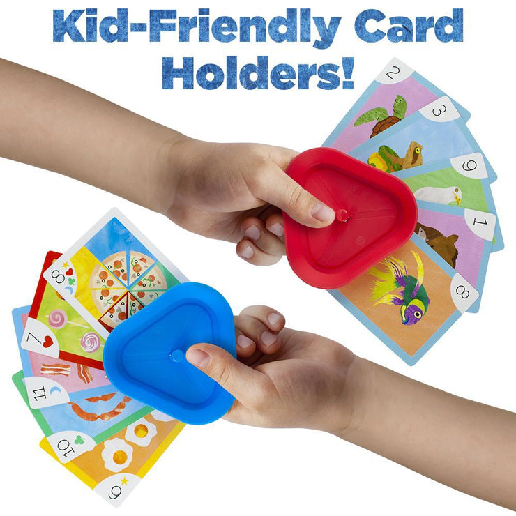 two children's hands holding a card holder with cards attached text reads kids friendly card holders