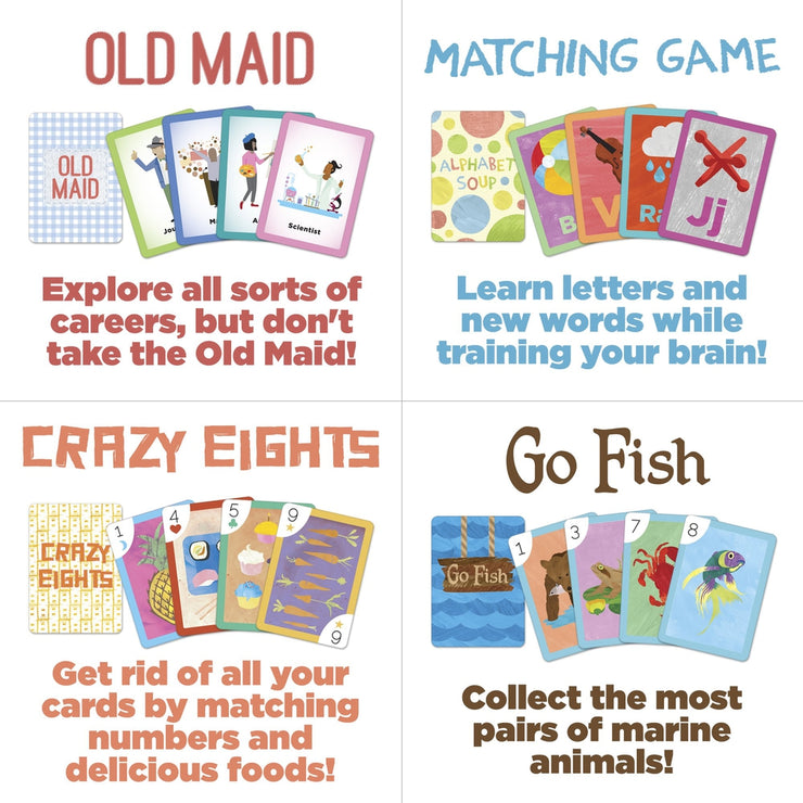 the four stem card games of old maid alphabet soup crazy eights and go fish