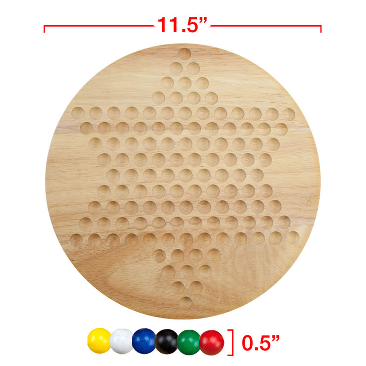 board and marbles displayed separately with their dimensions