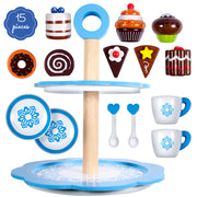 dessert tower tea cups spoons plates and desserts -  fifteen piece set