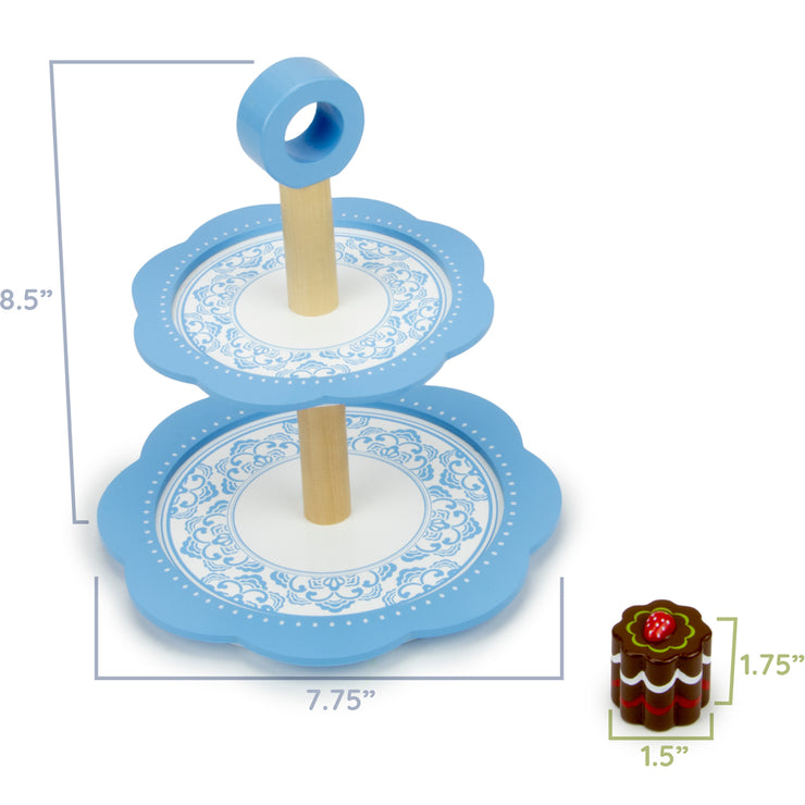 image displaying dimensions of dessert tower and a treat