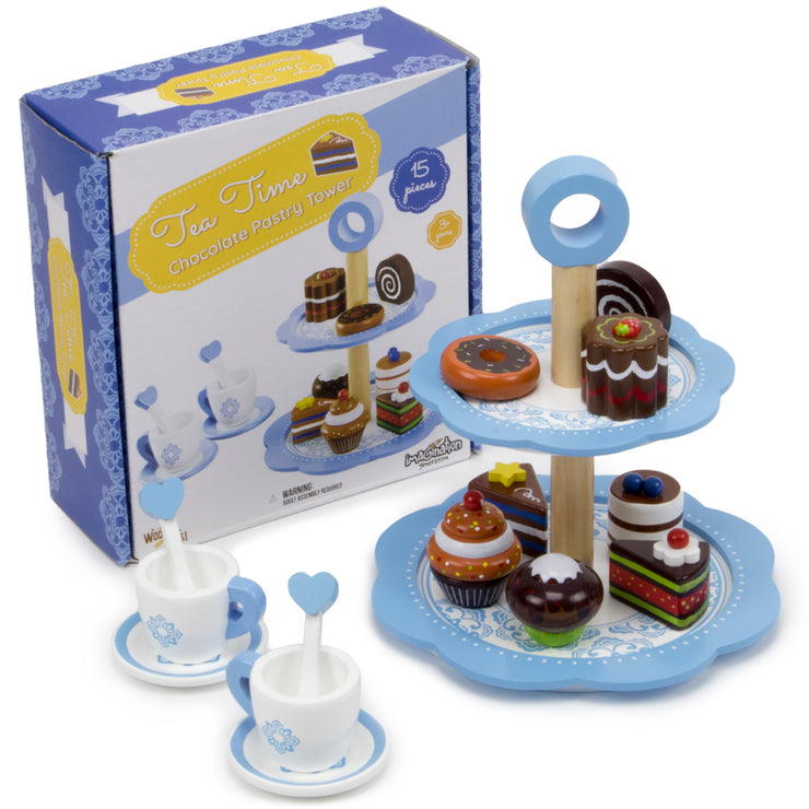 wood eats tea time dessert tower and box packaging