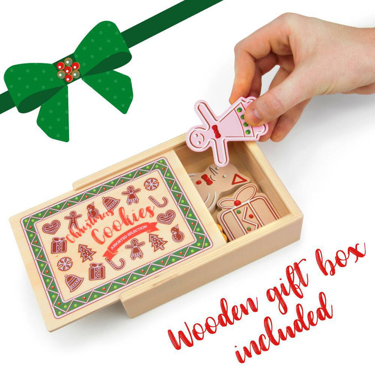image of a hand storing wood eats cookies in a wooden box text reads wooden gift box included