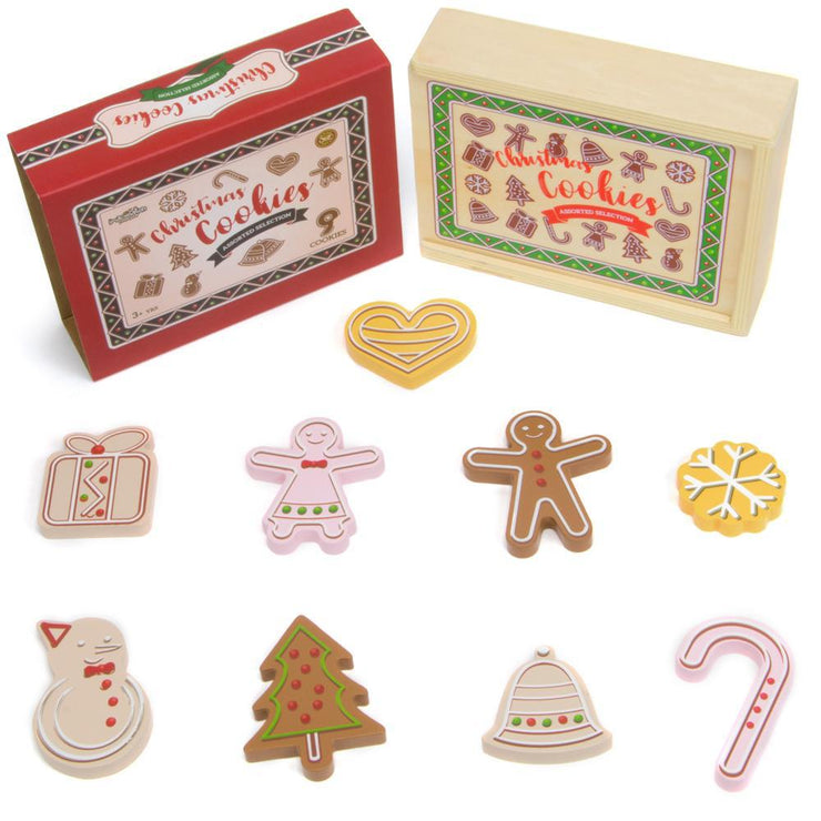 christmas cookies box packaging box and biscuits displayed separately