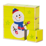 stem toy christmas puzzle with a snowman against a yellow background