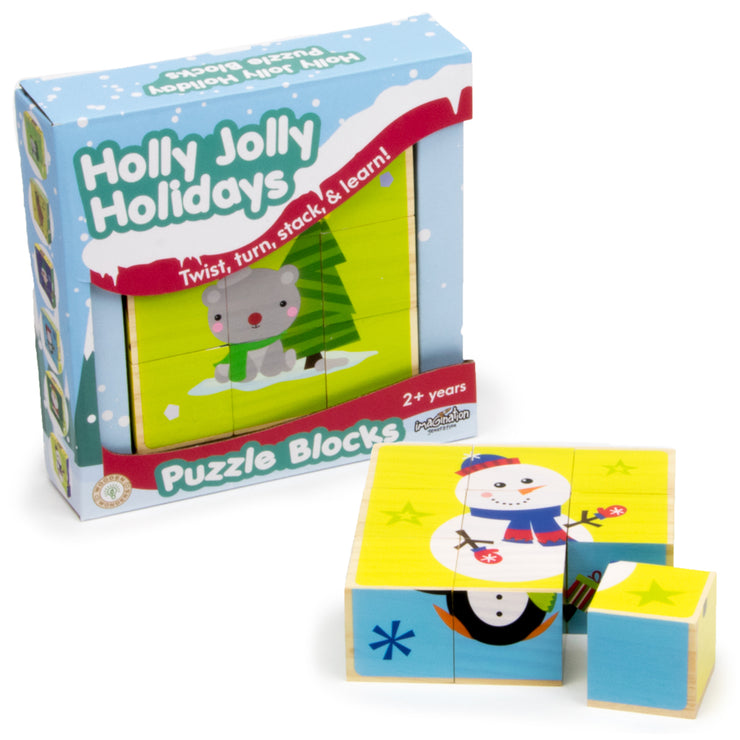holly jolly holidays christmas puzzle box packaging - stem toys