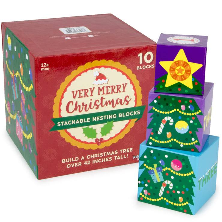 box packaging of very merry christmas stackable stem nesting blocks