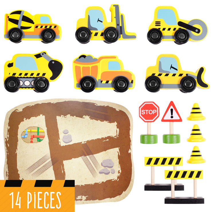 image of one dump truck road roller forklift bulldozer cement truck excavator road signs and cardboard construction site