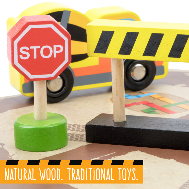 close up image of a road sign text reading natural wood traditional toys