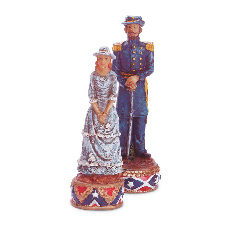 close up image of a lady and soldiers chess piece