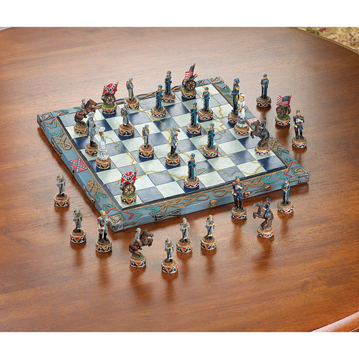 aerial view of the civil war chess game on a brown table