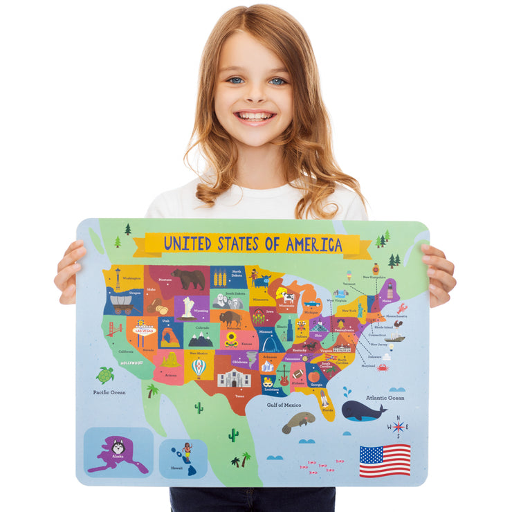 smiling girl holding a captivating map of the U.S.A