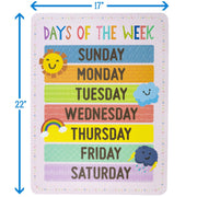 days of the week poster displaying dimensions