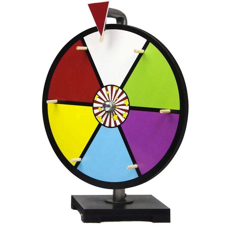 close up of the six slot color dry erase prize wheel