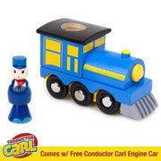 blue train with a conductor carl figurine against a white background
