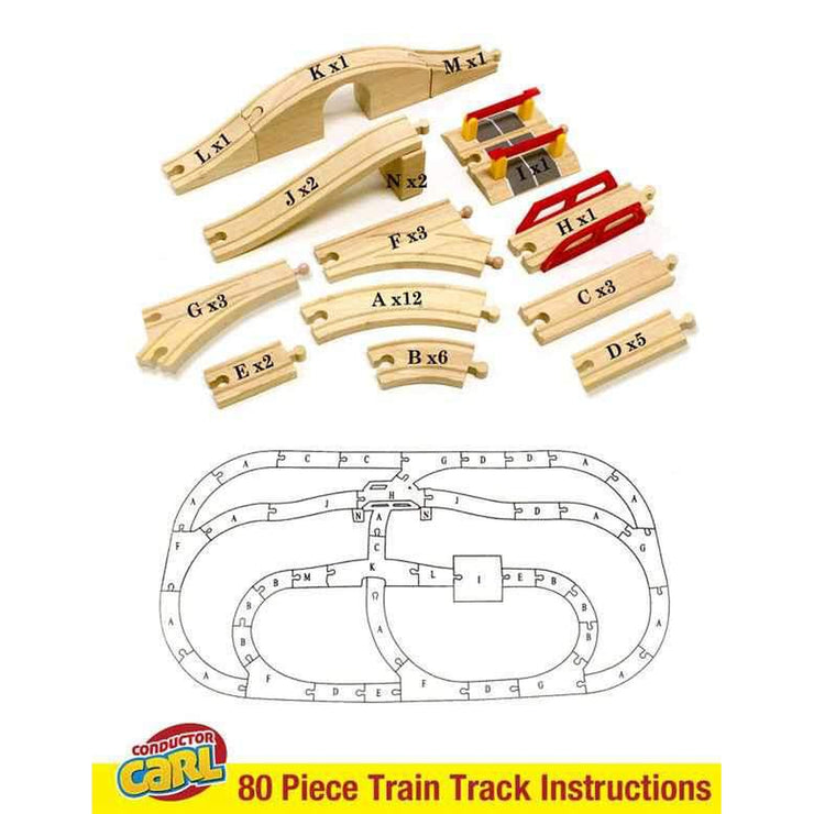 above all train track pieces displaying quantity and a letter of the alphabet below that a drawn diagram of a built train track showing a corresponding letter of the alphabet