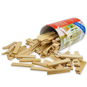 image of stem toy box packaging on its side with pine blocks spilling out