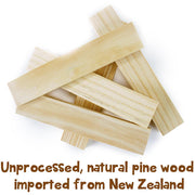 pieces of pine building blocks upon each other text reads unprocessed natural pine wood imported from new zealand