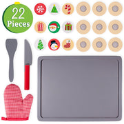 twenty two piece set with oven mitt baking tray knife spatula and biscuits