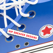 close up of sneaker and laces text reads hip sneaker designs