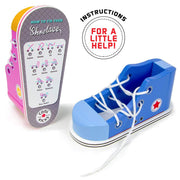 view on undersole on wooden educational toy shoes