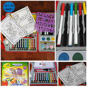 photo's displaying paper stencil markers paints coloring in paper