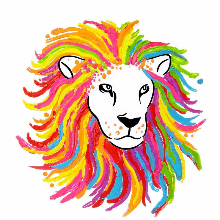 image of a lion colored in using the crayon melter set