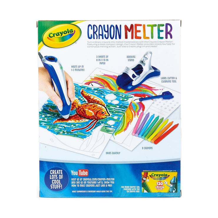 reverse side of crayola stem crayon melter box packaging