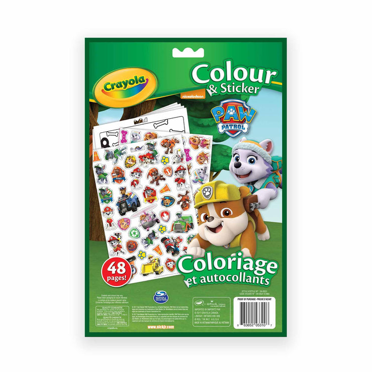 reverse side of paw patrol color and sticker book